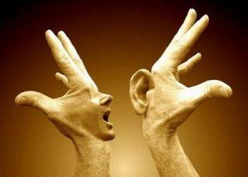 Oralidade - boca e orelha nas mãos