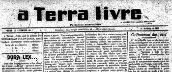 Capa do jornal A Terra Livre