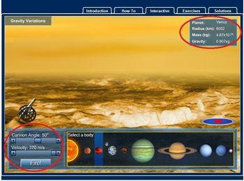 Simulador online da gravidade