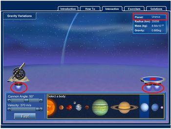 Simulador online gravidade em planeta gasoso