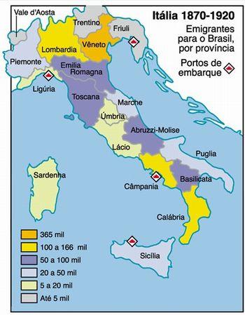 Mapa emigração italiana